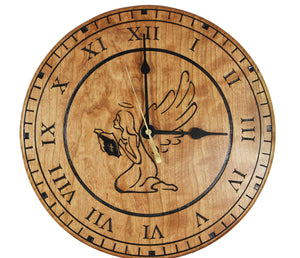 Beautiful cherry wood 10.5 inch guardian angel clock