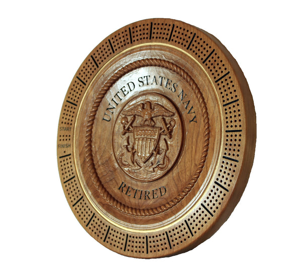 United States Navy Retired - Commemorative Cribbage Board / Plaque