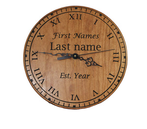Custom Cherry Wood Clock - Beautiful cherry wood custom clock and easel