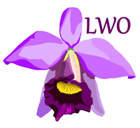 Cartoon image of cattleya bloom with letters LWO in upper right section.