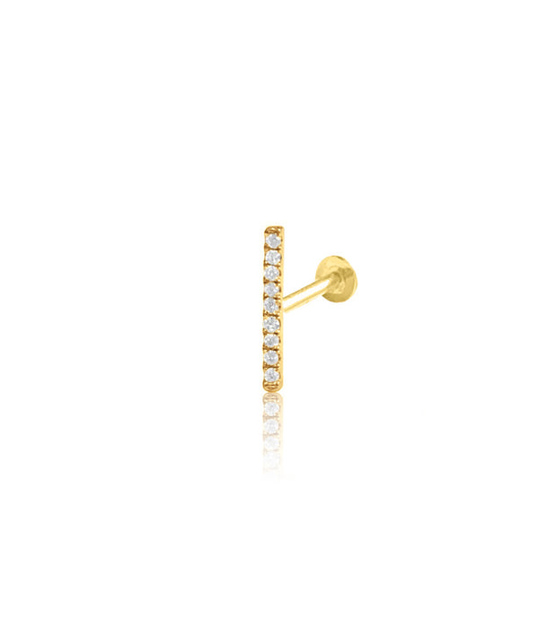 14K Gold Push Flat Back Diamond Bar Earring