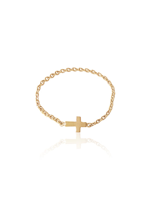14K Gold Soft Chain Cross Ring