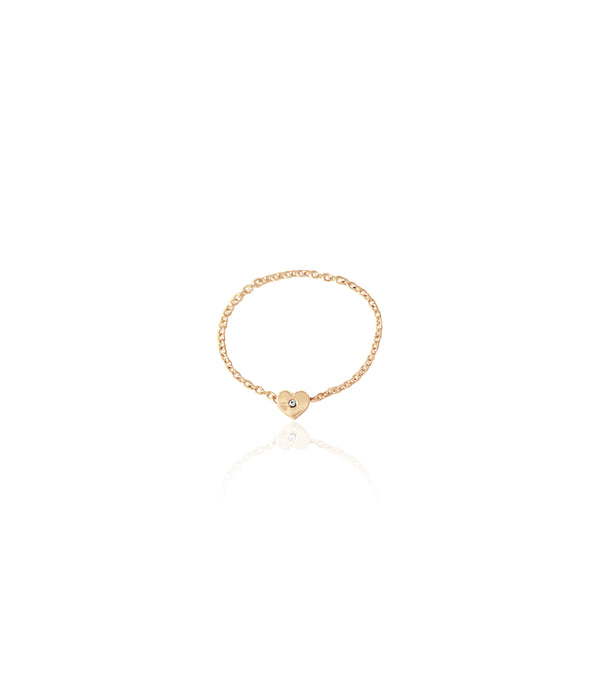 14K Gold & Diamond Soft Chain Mini Heart Ring