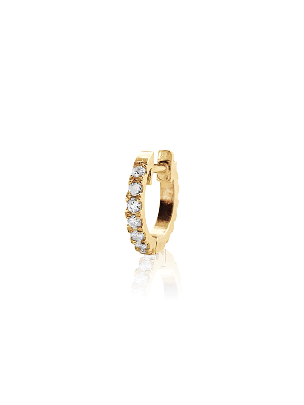 14KT Gold Diamond Double Sided Mini Huggie Earring