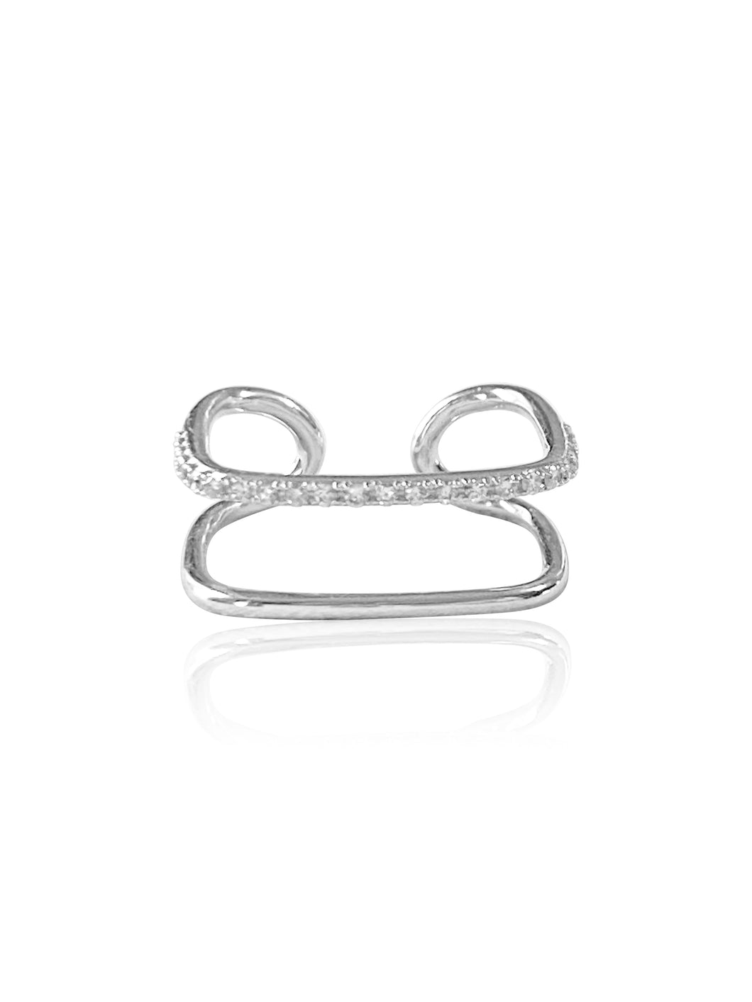 14k Diamond Double Band Adjustable Square Ring