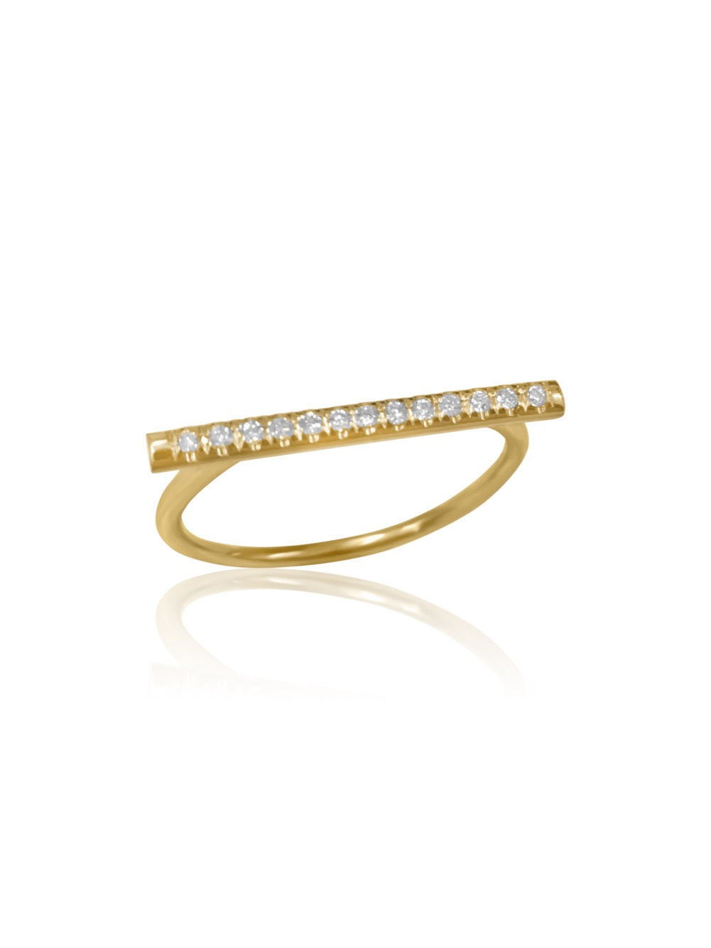14K Micro pave Diamond Bar Ring