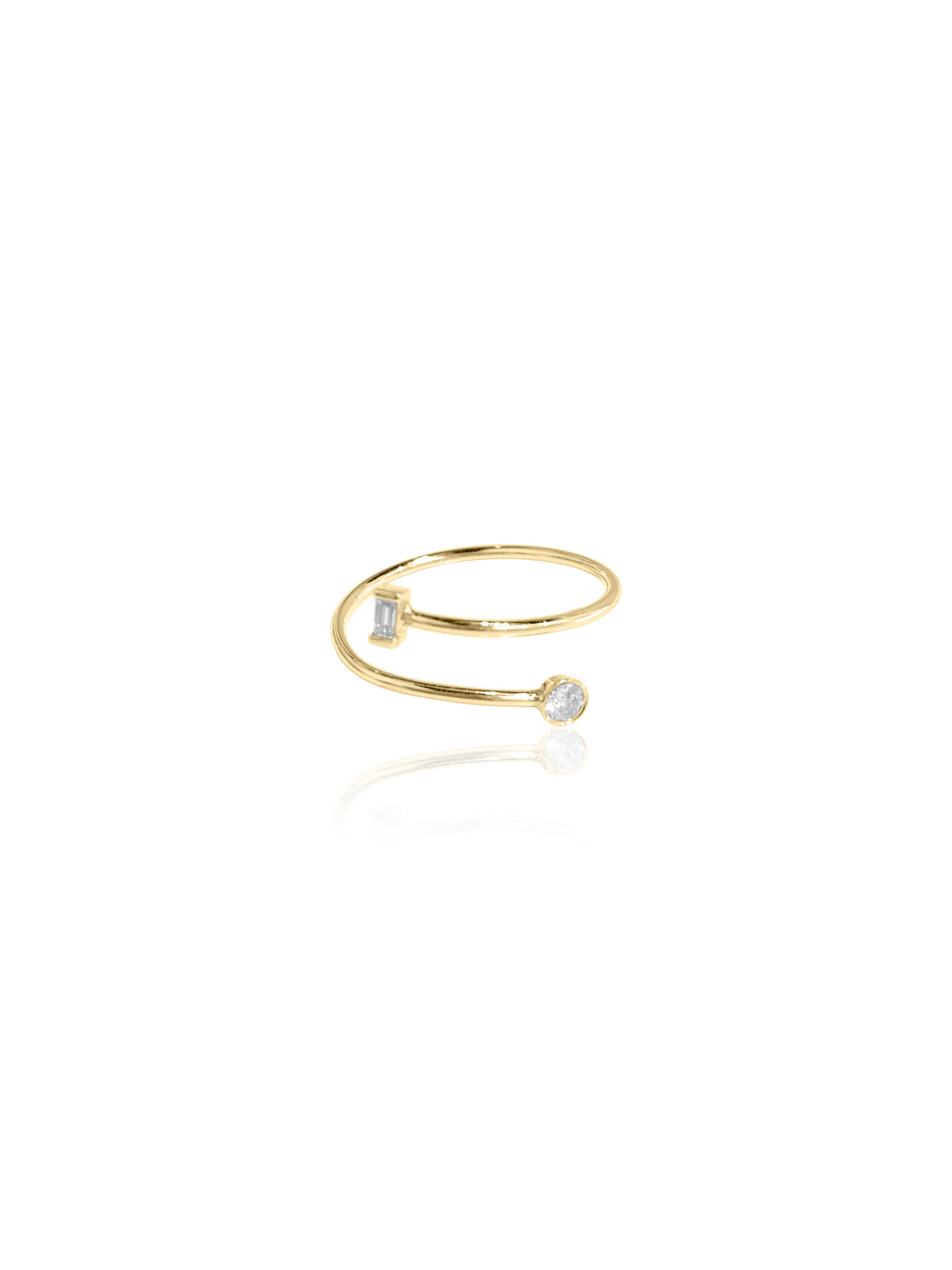14K Gold Baguette Diamond & Bezel Coil Ring