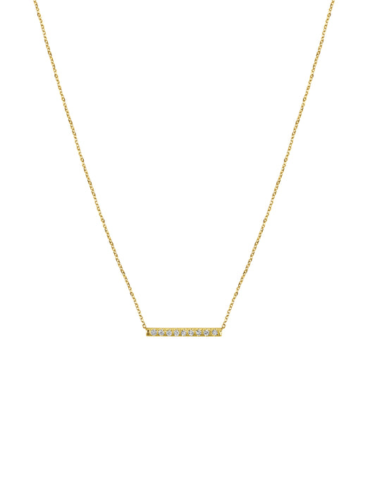 14K Gold Mini Micro pave Diamond Bar Necklace