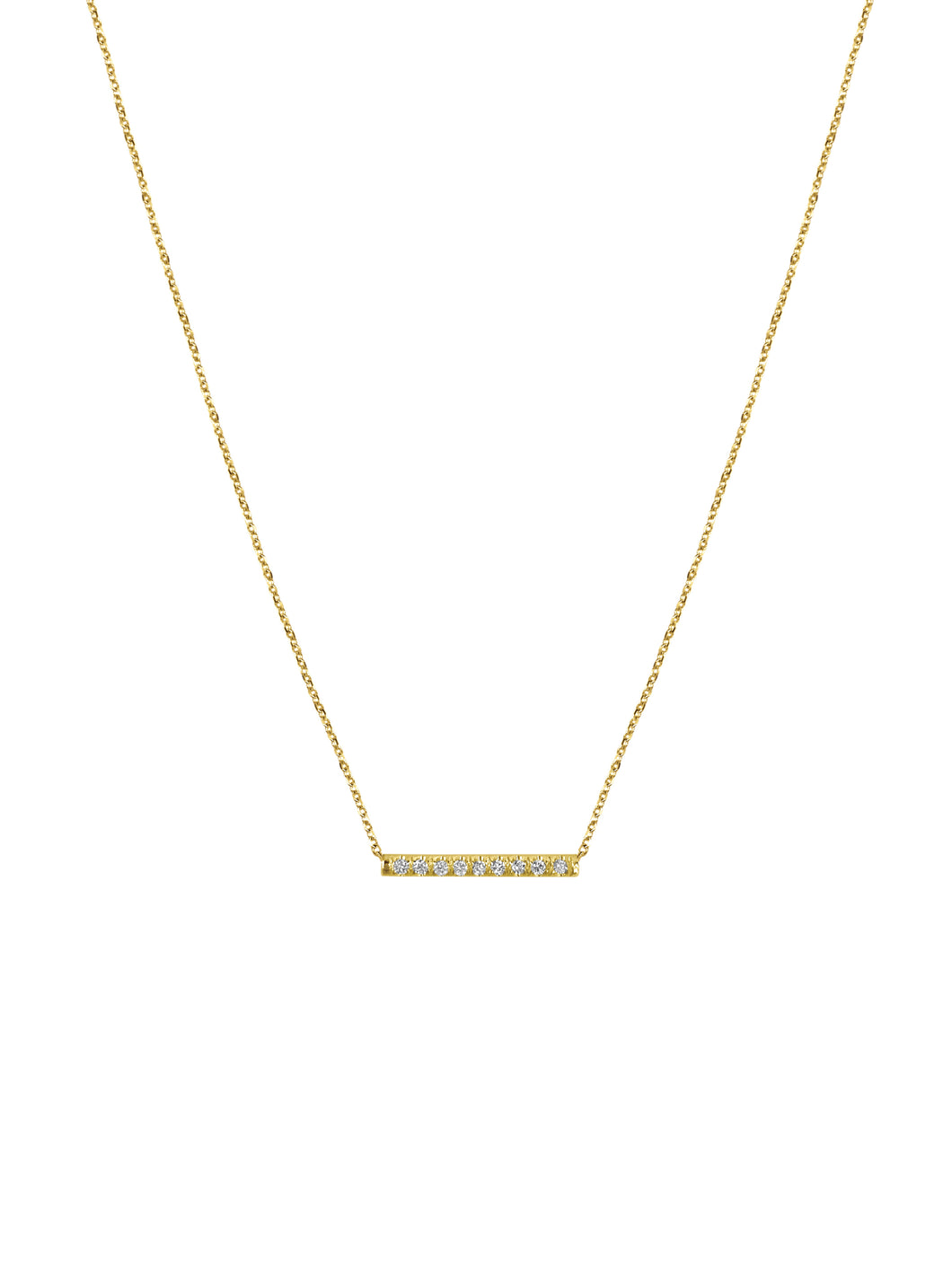 14K Gold Mini Micropave Diamond Bar Necklace