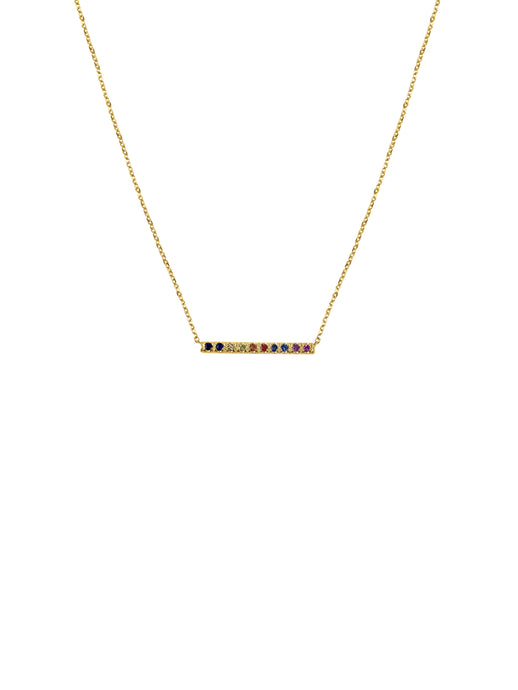 14K Gold Mini Micro pave Sapphire Bar Necklace