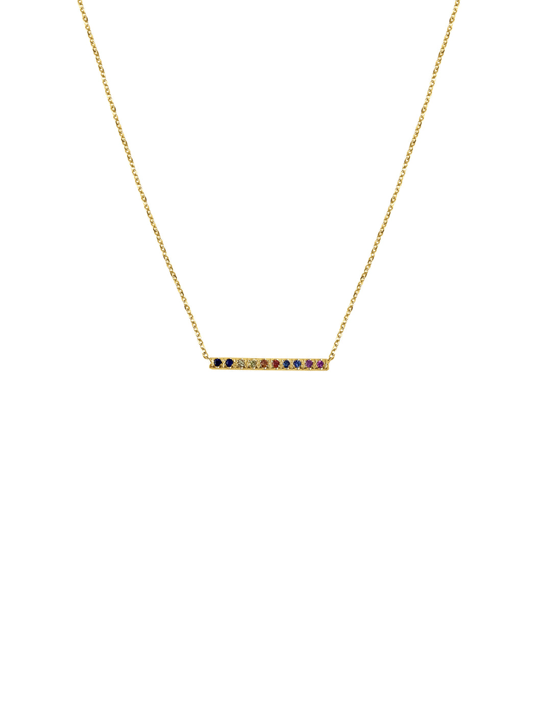 14K Gold Mini Micropave Sapphire Bar Necklace