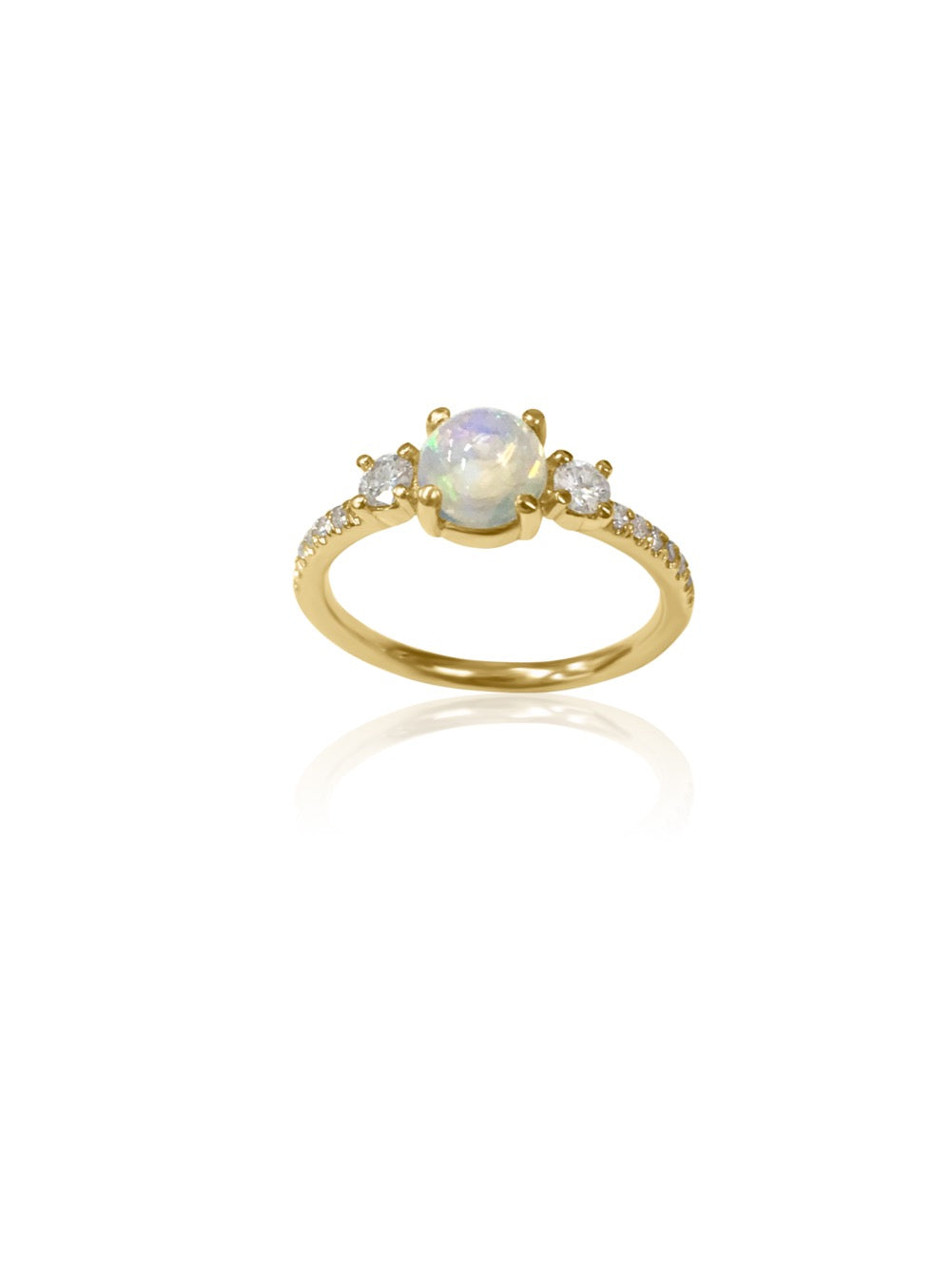 14k Gold Diamond & Opal Ring