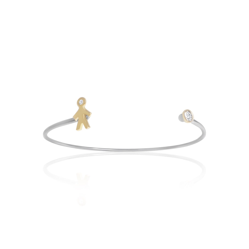Mom 18k Gold & Silver Bangle