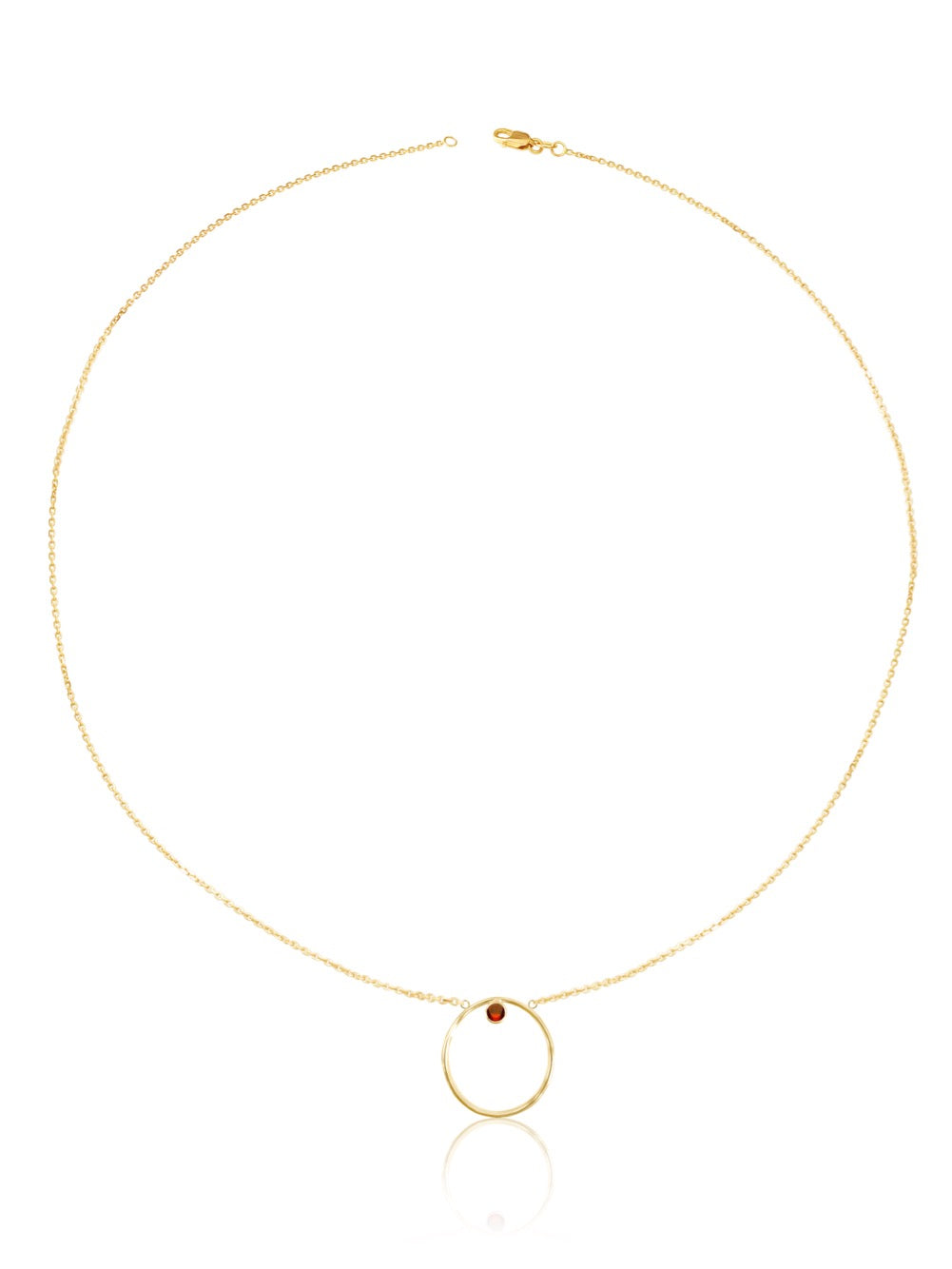 14K Gold Diamond/Gemstone Circle Necklace