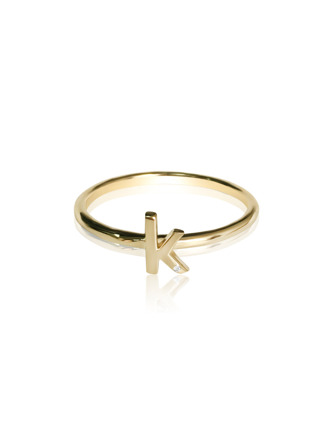 keila jewelry 14K Diamond Initial Stackable Ring k