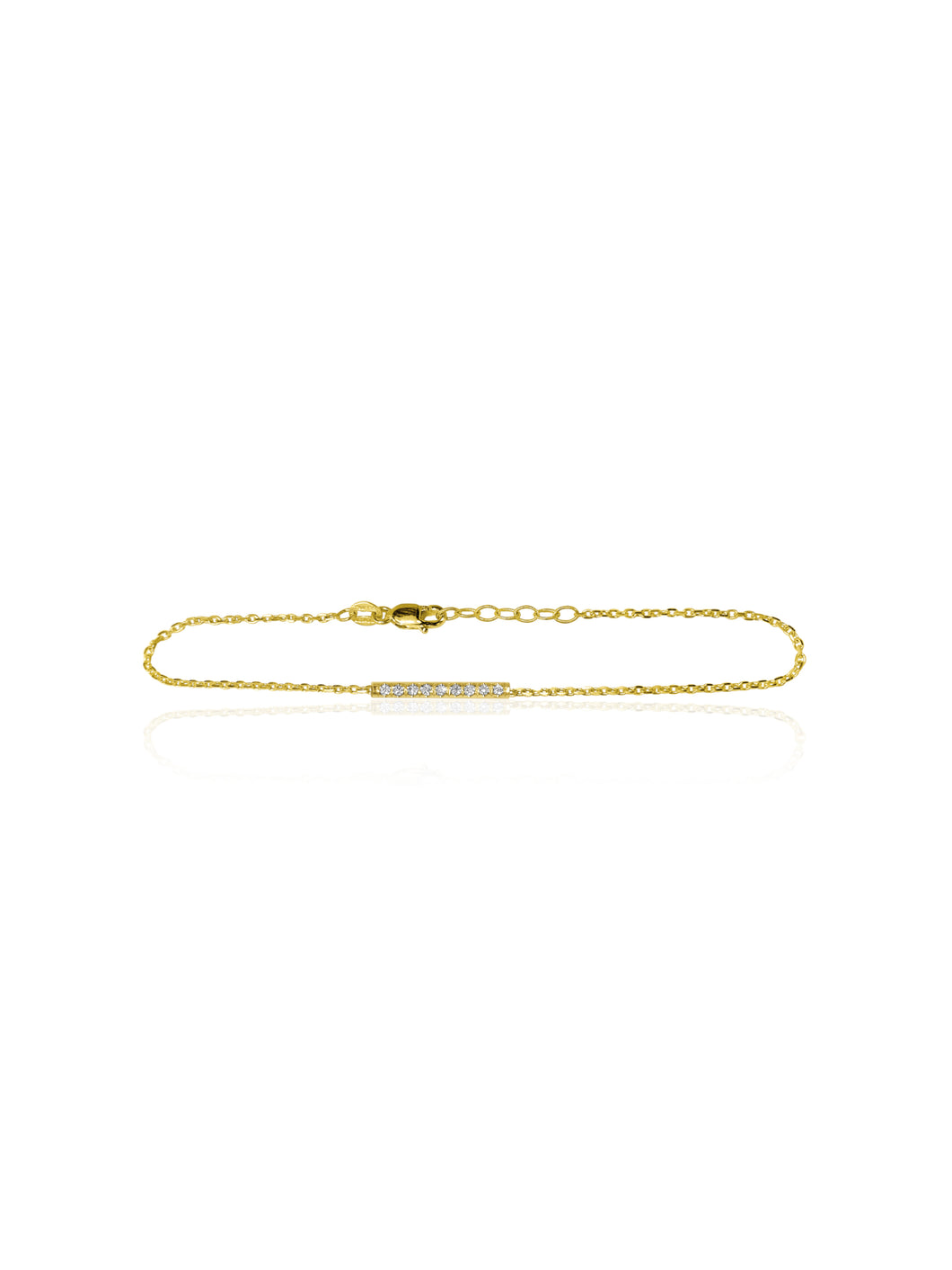 14K Gold Mini Micropave Diamond Bar Bracelet