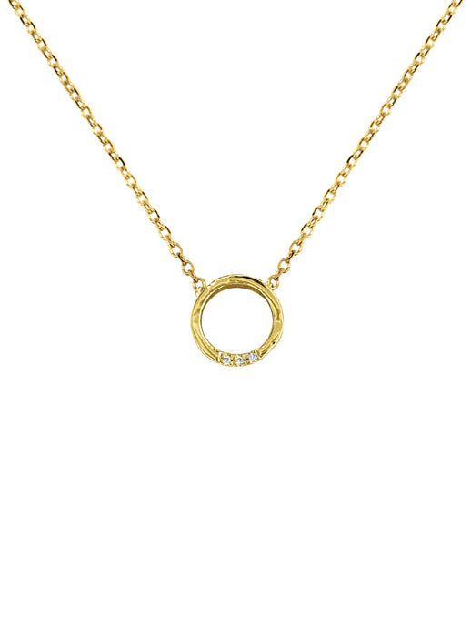14K Gold Circle Diamond Necklace