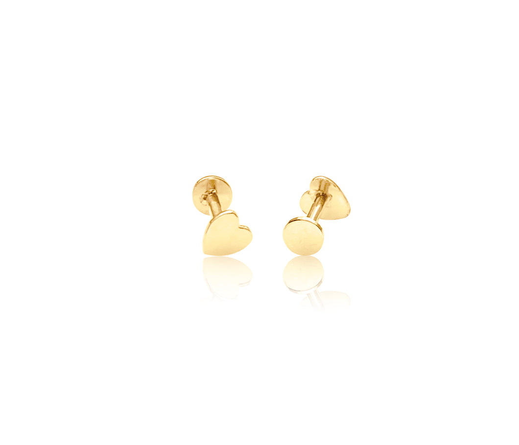 14K Gold Push Heart Flat Back Earring