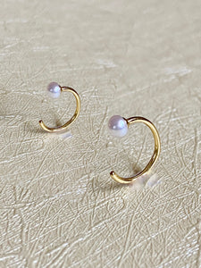 14K Gold Claw Pearl Earring