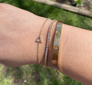 14K Gold Geometric Diamond Bracelets