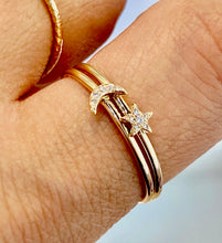 14K Gold Pave Diamonds Mini Star Stackable Ring