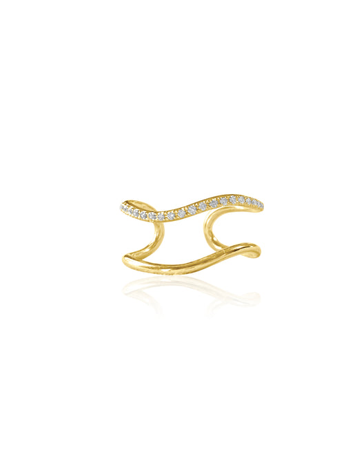 14k Diamond Double Band Adjustable Wave Ring