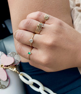14k Gold Mini Emerald Baguette Ring