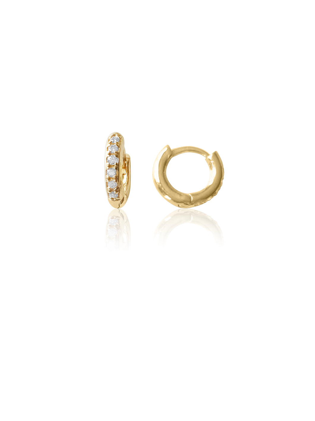 14KT Gold Diamond Mini Donut Huggie Earring