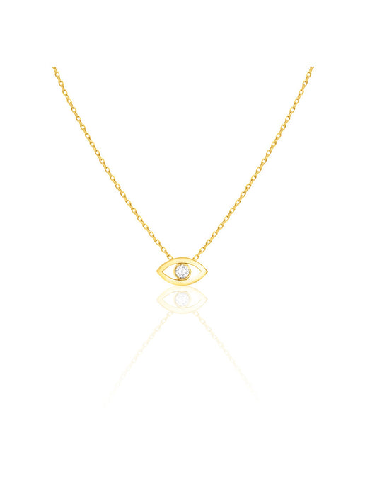 14K Gold Diamond Evil Eye Necklace