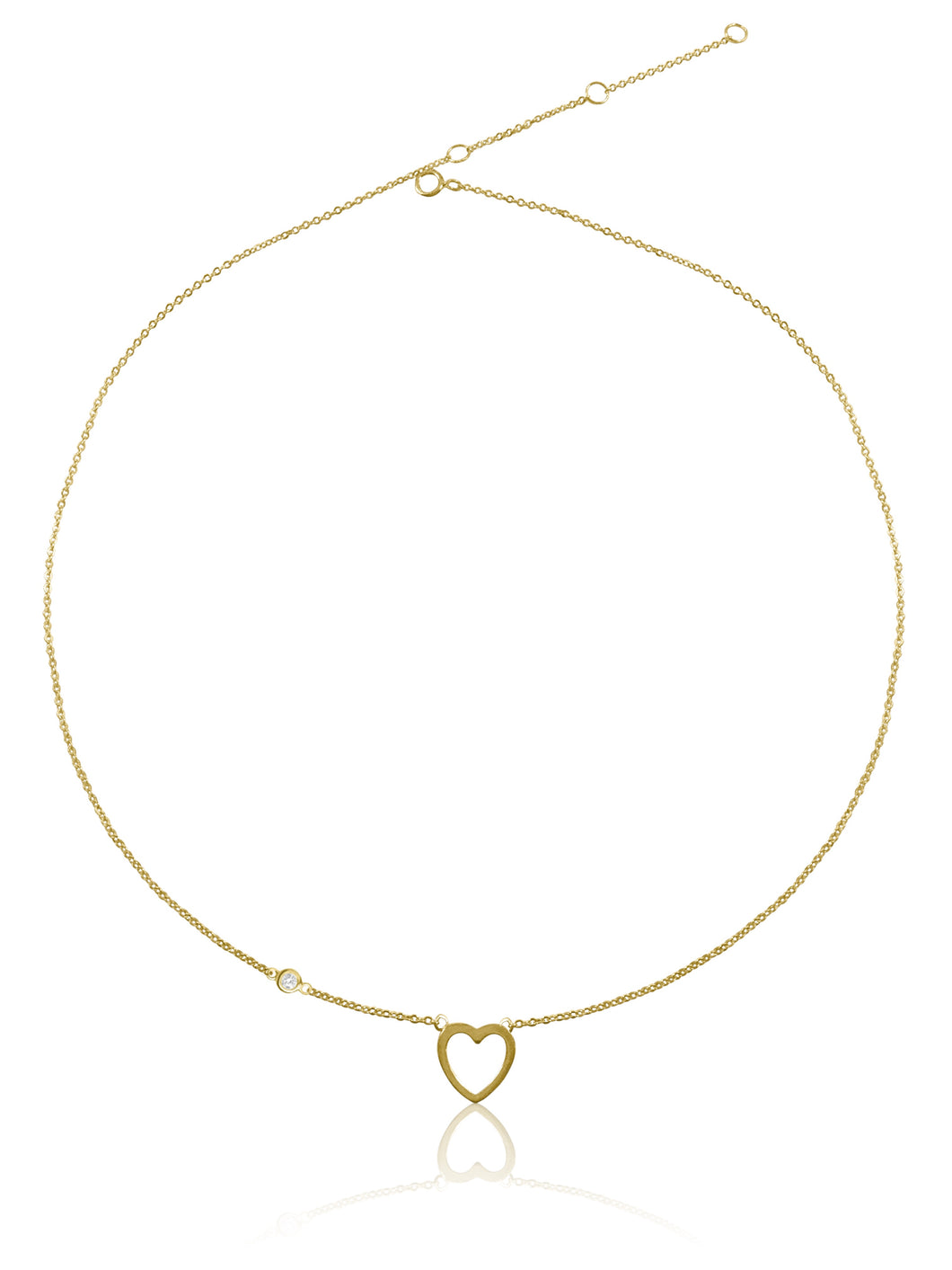 14K Heart & Diamond Bezel Necklace
