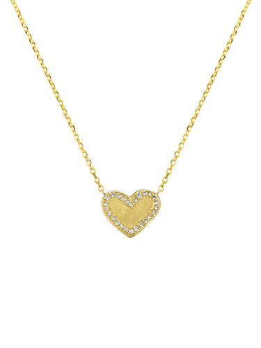14K Heart Pave Diamonds Necklace