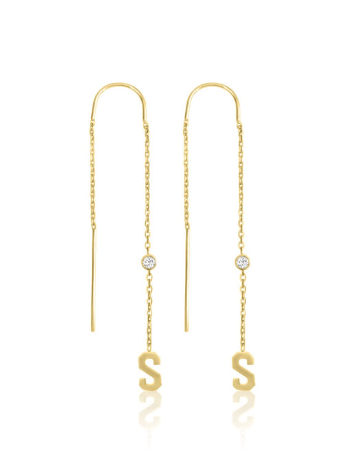 14k Diamond Initial Chain Earrings