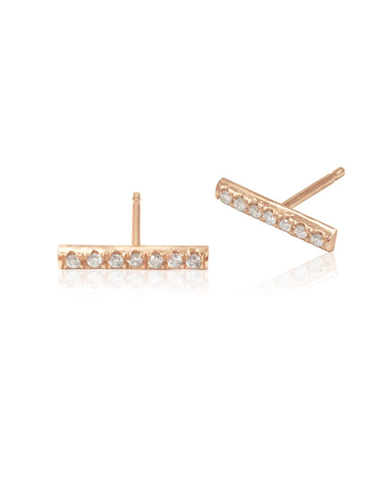 14K Micropave Diamond Bar Earrings