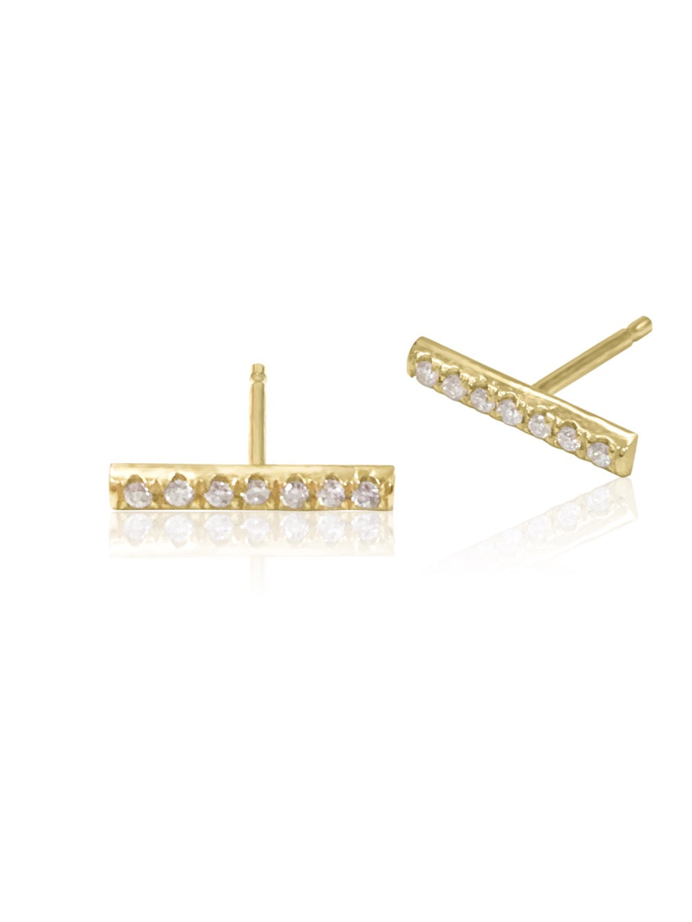 14K Micro pave Diamond Bar Earrings