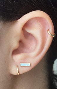 14K Gold Turquoise/Mother Of Pearl Bar Earring