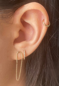 14k Gold Paper Clip Chain Earring