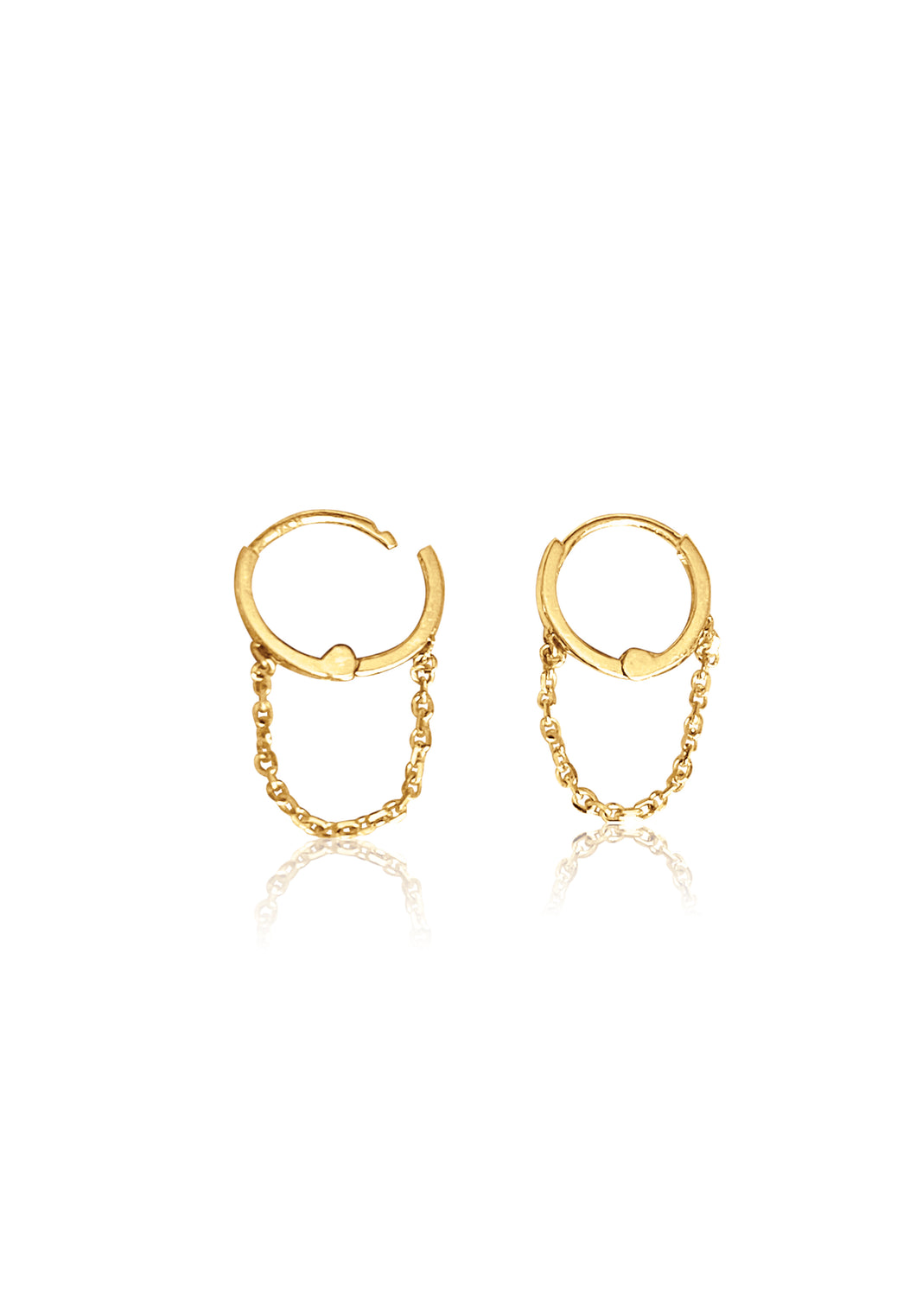 14KT Gold Mini Chain Huggie Clicker Earring