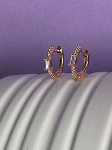 18K Gold Filled Baguette CZ Clicker Earrings