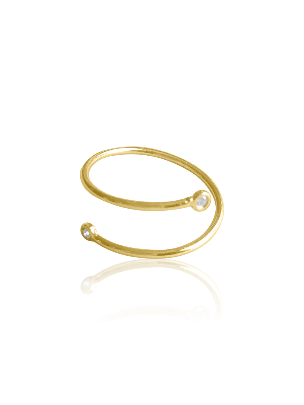 14K Gold Diamond Coil Ring