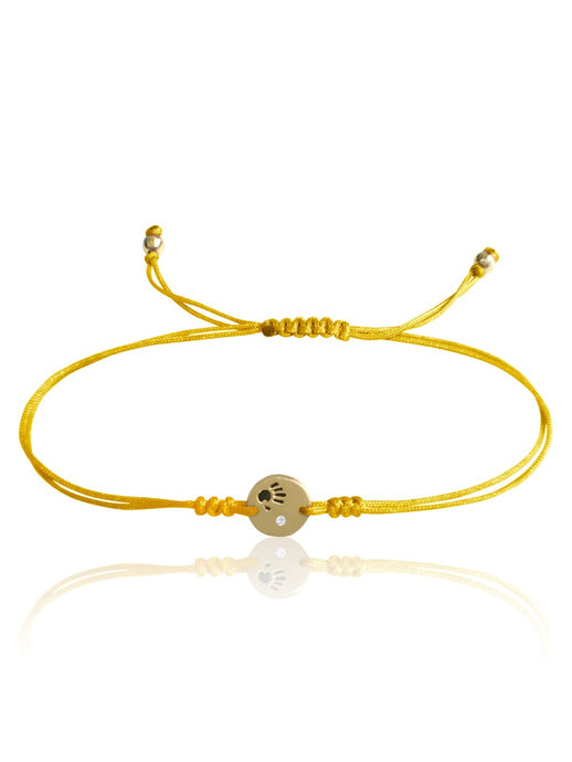 14k Gold Diamond Mini Love Is In Your Hands Macrame Bracelet
