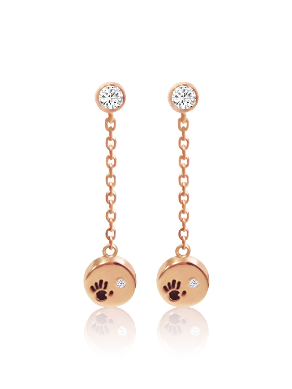 14k Diamond Love Is In Your Hands Dangling Earrings