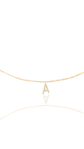 14KT Gold Micro Pave Diamond Initial Necklace