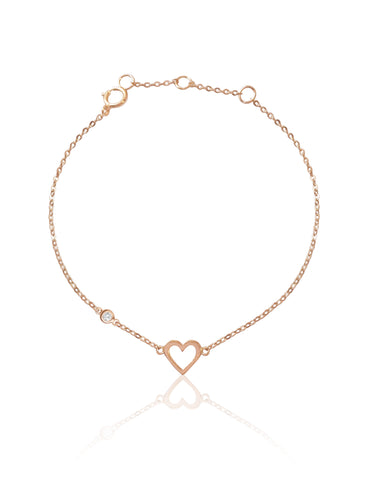 14K Heart & Diamond Bezel  Bracelet