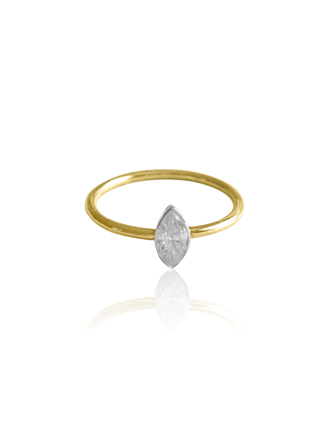14k Gold Bezel Marquise Diamond Ring