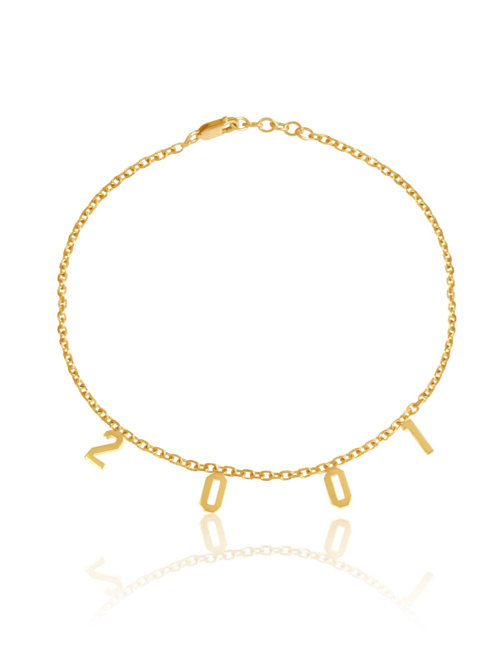 14k Gold personalized Number Bracelet