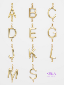 14KT Gold Mini 3D Initial Necklace