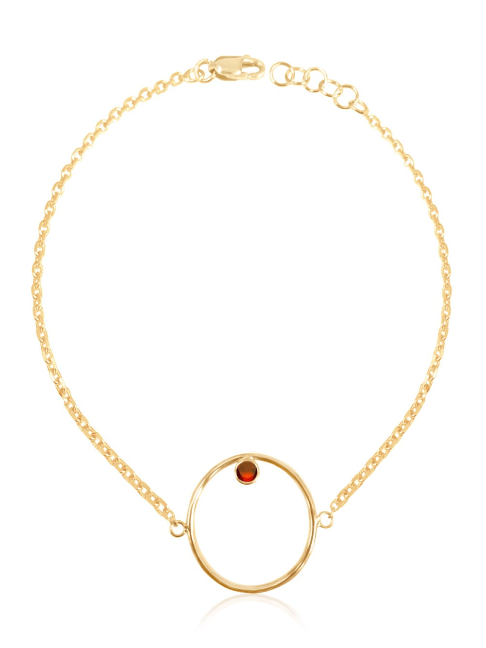 14K Gold Diamond/Gemstone Circle Bracelet