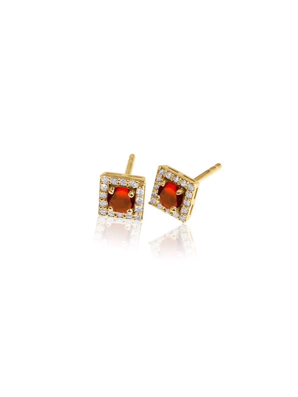 14K Gold Diamond square Halo Earrings
