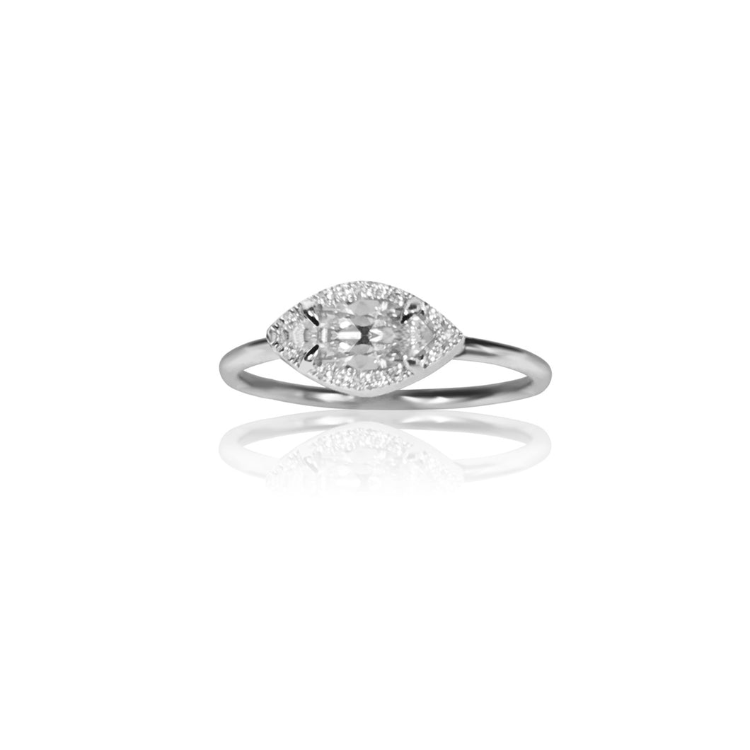 14k Gold Marquise Diamond Ring