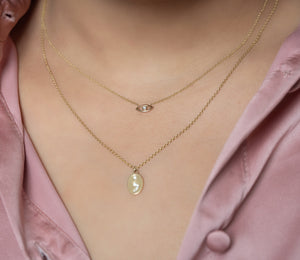 14k Diamond Semicolon Necklace With Back Engraving